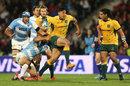 Wallabies fullback Israel Folau breaks through Argentina's defence