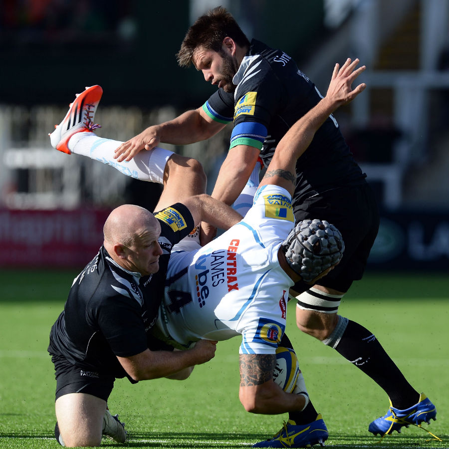 Exeter's Tom James is felled by the Newcastle defence