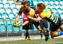 NSW Country Eagles Ethan Ford dives for a try