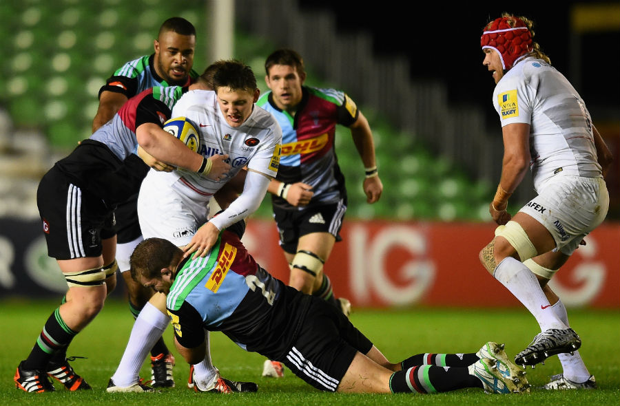 Will Edwards of Saracens is stopped by the Harlequins defence during the Premiership A match