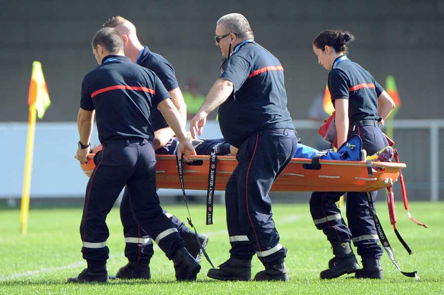 Francois Trinh-Duc is stretchered off the field