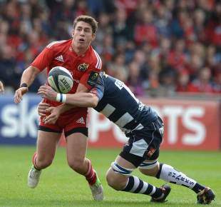 Munster's Ian Keatley gets the pass away, Sale Sharks v Munster, European Rugby Champions Cup, AJ Bell Stadium, October 18, 2014