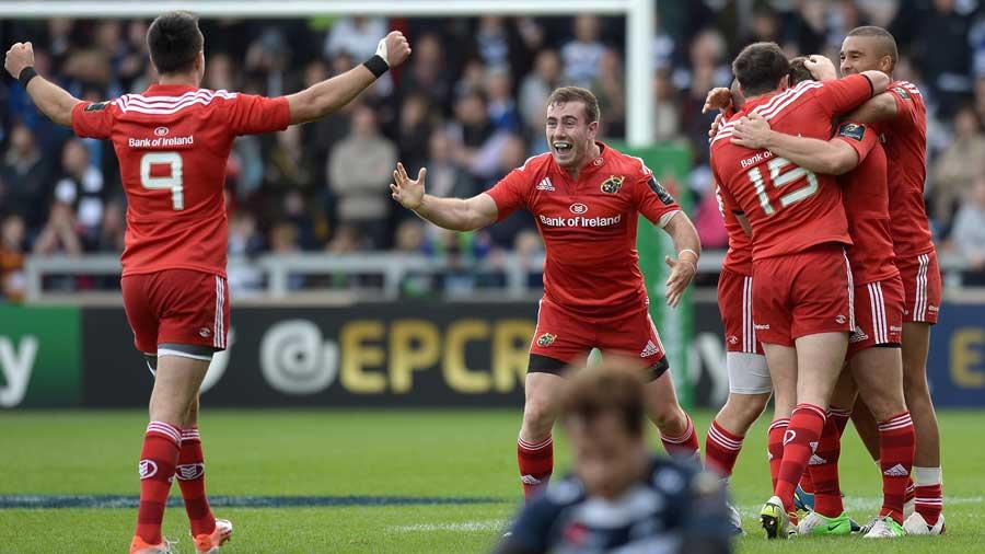 Munster celebrate Ian Keatley's drop-goal