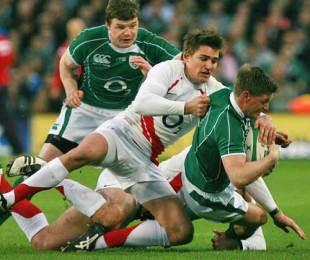 England's Toby Flood tackles Ireland's Ronan O'Gara, Ireland v England, Six Nations Championship, Croke Park, Dublin, Ireland, February 28