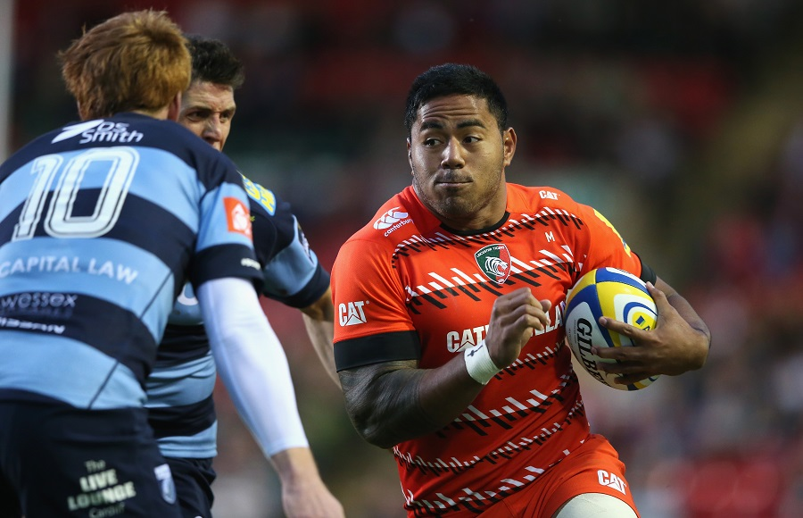 Manu Tuilagi runs at the Cardiff defence