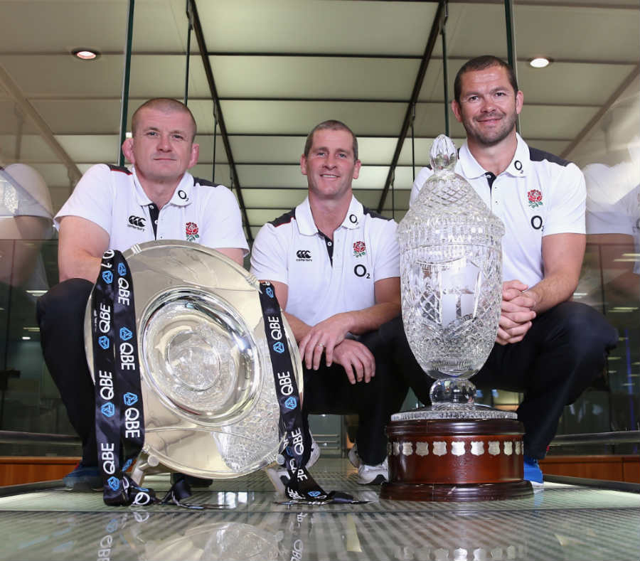 England's Graham Rowntree, Stuart Lancaster and Andy Farrell at the naming of the squad for the autumn Tests