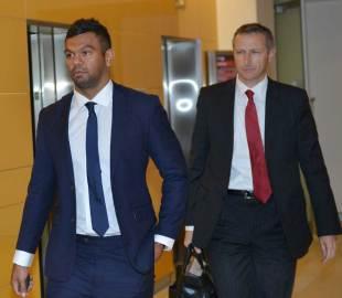 Australia's Kurtley Beale arrives for his disciplinary hearing, Sydney, October 24, 2014