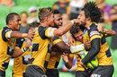 Perth Spirit's Sam Wykes celebrates his try
