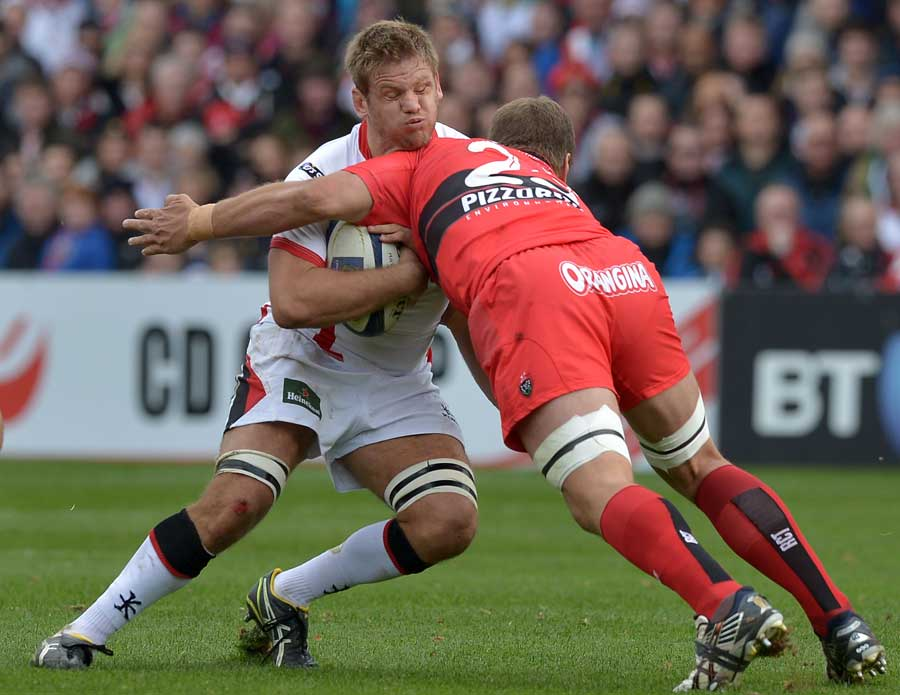 Ulster's Chris Henry is on the wrong end of a hit from Juan Smith