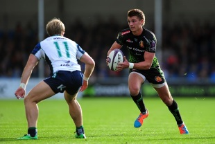 Exeter try-scorer Henry Slade takes the game to Connacht. Exeter Chiefs v Connacht, European Challenge Cup, Sandy Park, Exeter, October 25, 2014.