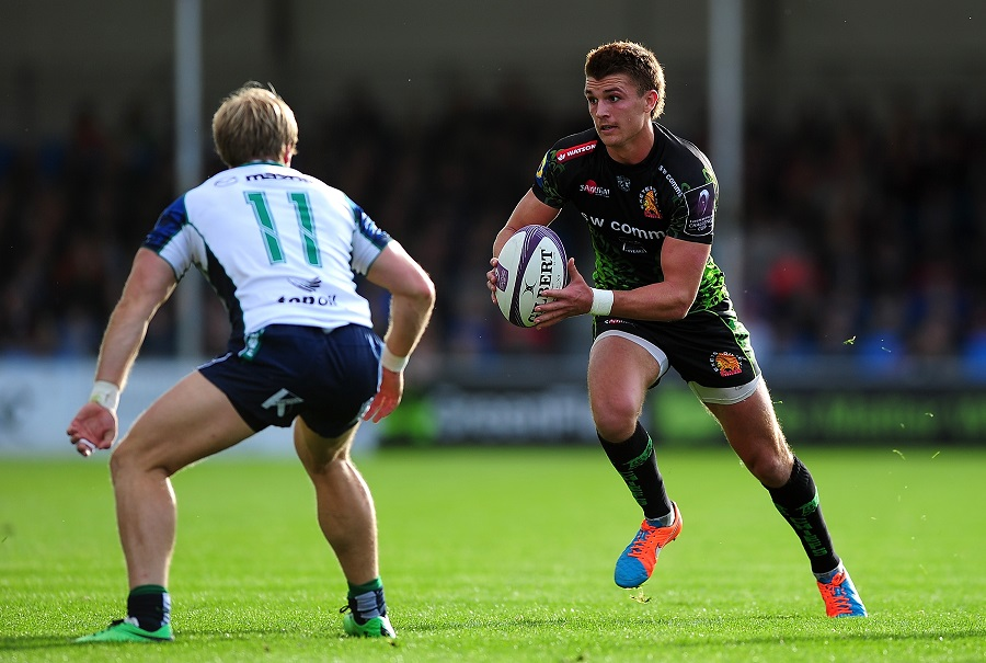 Exeter try-scorer Henry Slade takes the game to Connacht.