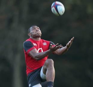 Semesa Rokoduguni takes a high ball during England training, Pennyhill Park, October 27, 2014
