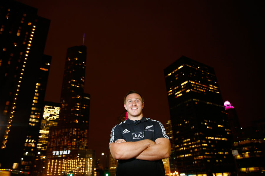 New Zealand's Nathan Harris poses for a portrait after an All Blacks media session