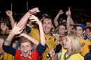 Brisbane City's David McDuling celebrates victory with fans