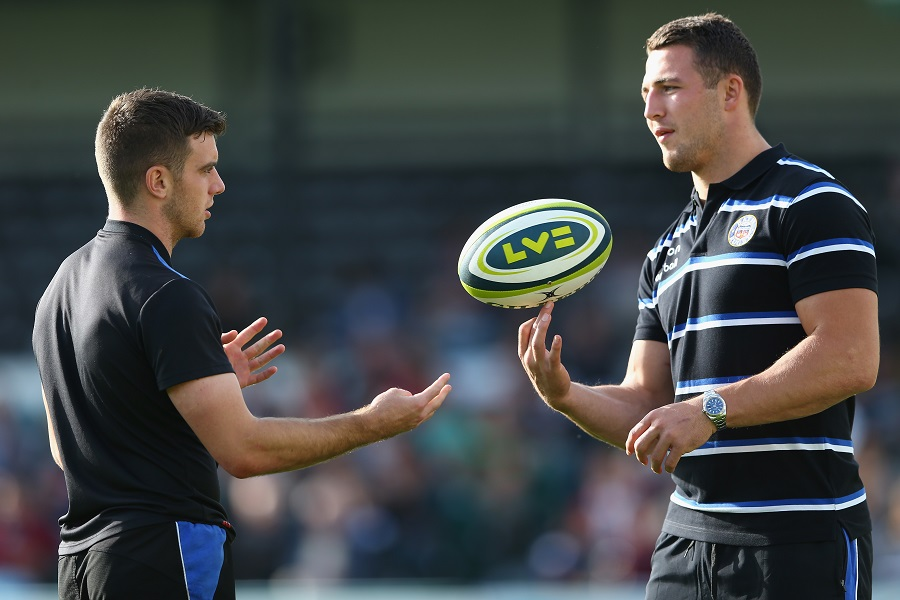 George Ford chats to new team-mate Sam Burgess