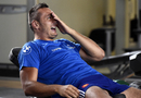 France flanker Virgile Bruni looks on during an indoor training session
