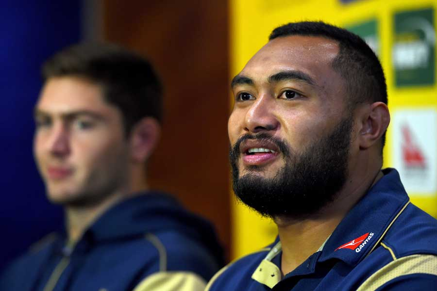 Australia's Sekope Kepu (right) and Rob Simmons face the press