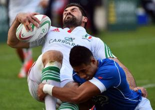 Andrea Masi is tackled by Kahn Fotuali'i, Italy v Samoa, Stadio Del Duca, Ascoli Piceno, November 8, 2014