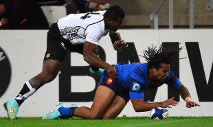 France winger Teddy Thomas scores a try beyond Fiji's Watisoni Votu , France v Fiji, Stade Velodrome, Marseille, France, November 8, 2014