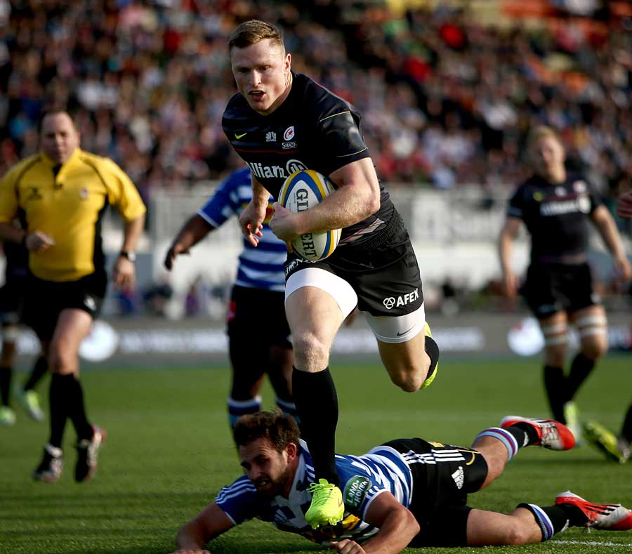 Saracens' Chris Ashton sprints away from the Western Province defence