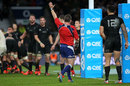 Referee Nigel Owens awards a penalty try to England