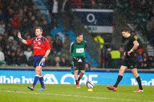 Referee Nigel Owens halts Beauden Barrett's conversion, England v New Zealand, Twickenham, November 8, 2014
