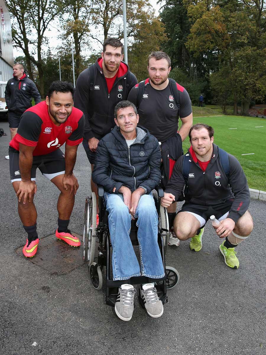 Joost van der Westhuizen meets England's Billy Vunipola, Graham Kitchener, Matt Mullan and Henry Thomas