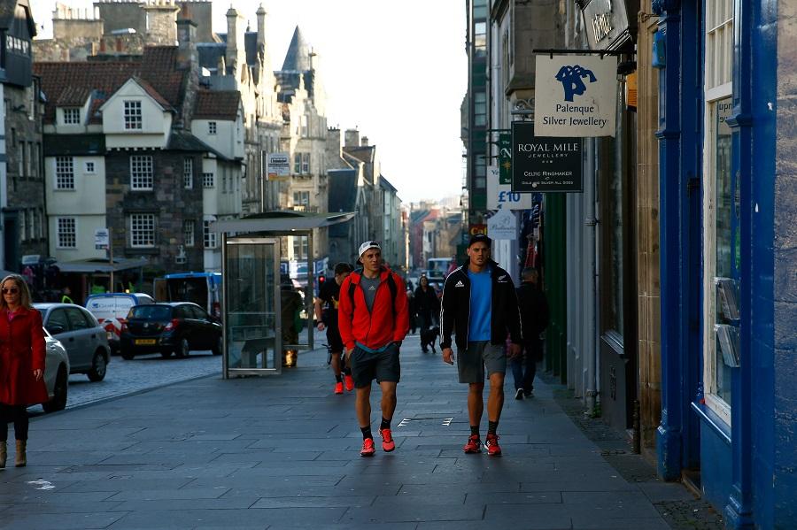 All Blacks TJ Perenara and Israel Dagg soak up a beautiful day in Edinburgh