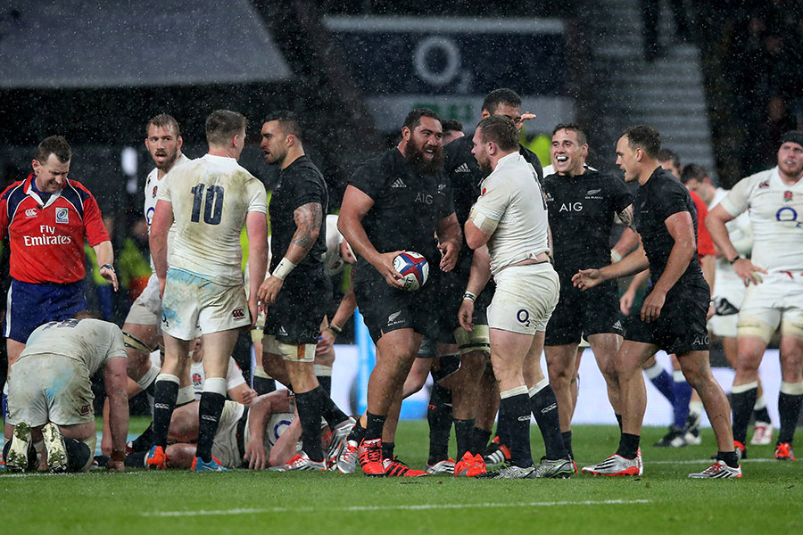 New Zealand's Charlie Faumuina celebrates after scoring a try