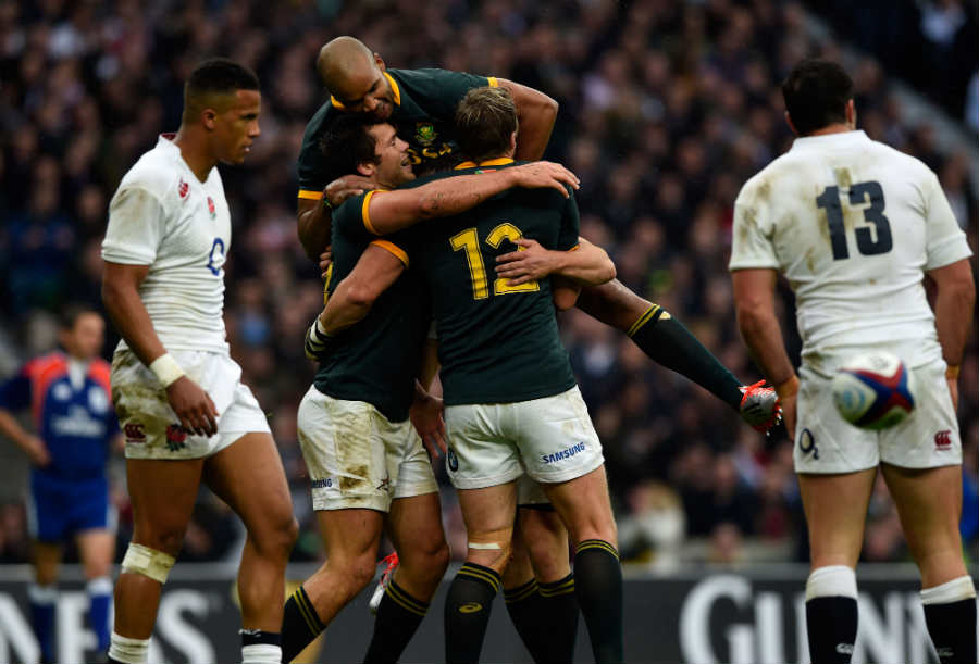South Africa celebrate Jan Serfontein's try