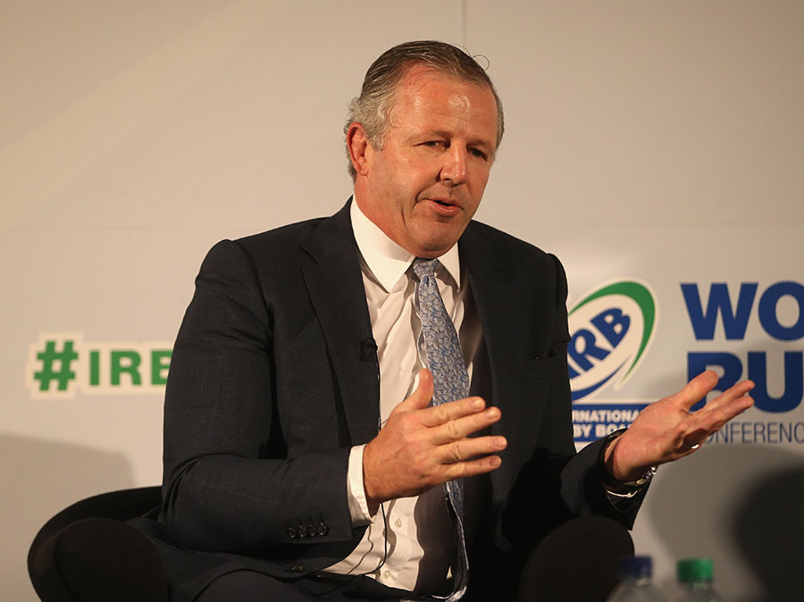 Sean Fitzpatrick talks at the IRB World Rugby Conference in London