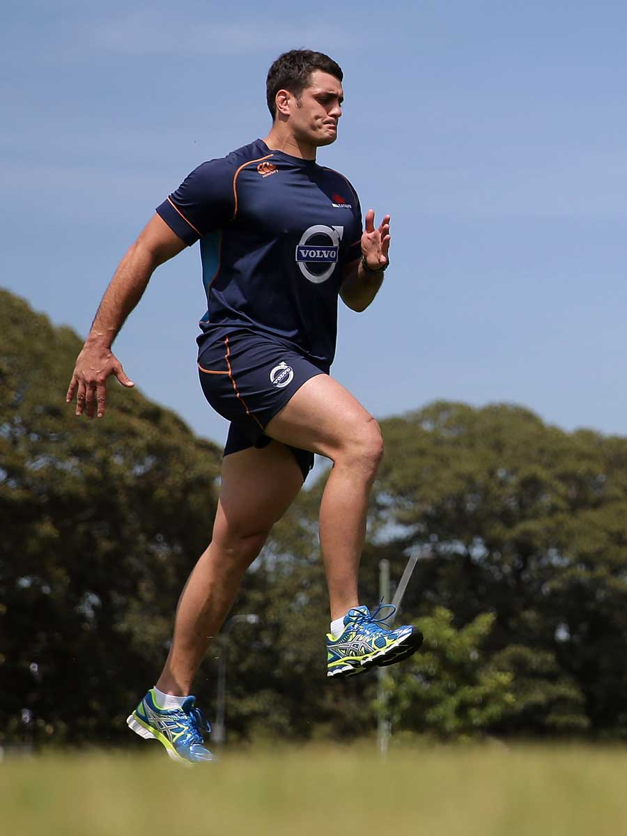 New South Wales Waratahs' Dave Dennis performs a training drill