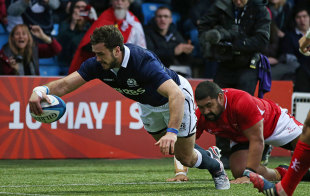 Scotland centre Alex Dunbar lunges over for his try in the second half, Scotland v Tonga, Autumn internationals, Rugby Park, Kilmarnock, November 22, 2014
