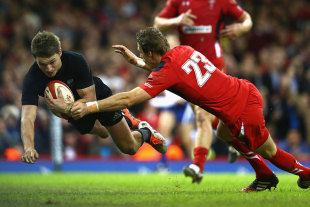 Beauden Barrett dives over for the first of his two tries against Wales, Wales v New Zealand, Millennium Stadium, Cardiff, November 22, 2014