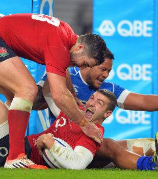 Jonny May celebrates his England try, England v Samoa, Autumn international, Twickenham stadium, Twickenham, London, November 22, 2014