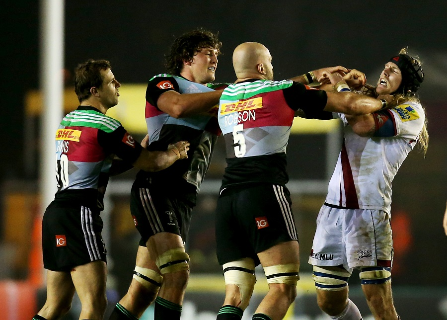 Harlequins' George Robson and Sale's Magnus Lund get to know one another