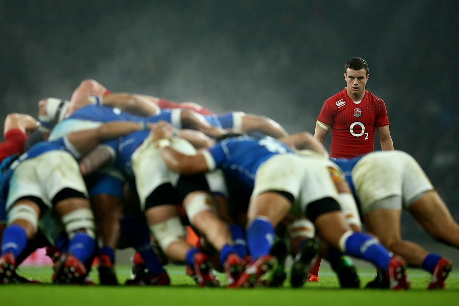 George Ford waits as the English and Samoan forwards do battle in the scrum