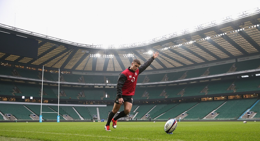 England's George Ford practices his place-kicking ahead of the match against Australia