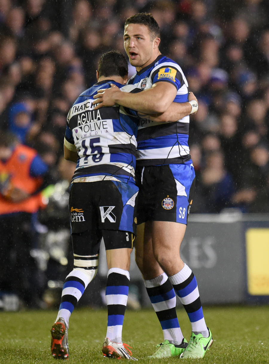 Bath's Sam Burgess comes on as a replacement