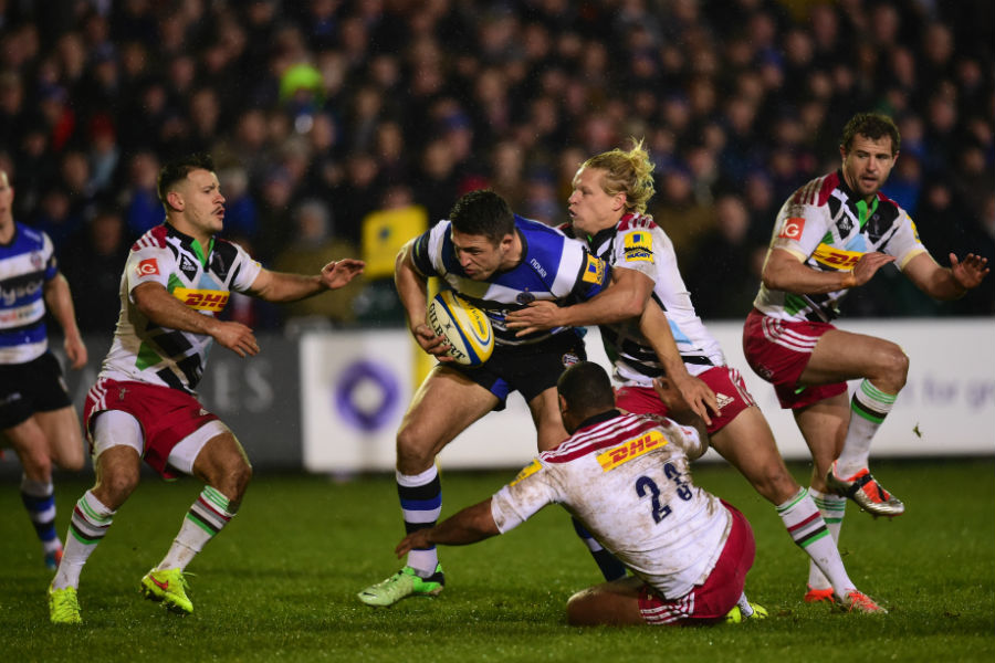 Bath's Sam Burgess takes his first touch