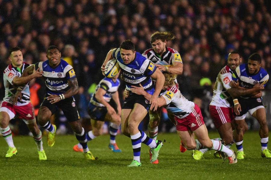 Sam Burgess breaks through the Harlequins defence