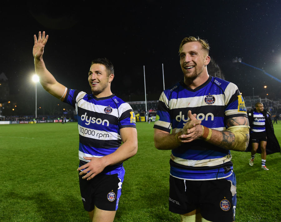 Bath's Sam Burgess waves to the Rec crowd after making a winning debut