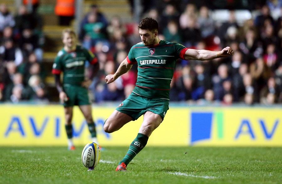 Owen Williams kicks a penalty for Leicester