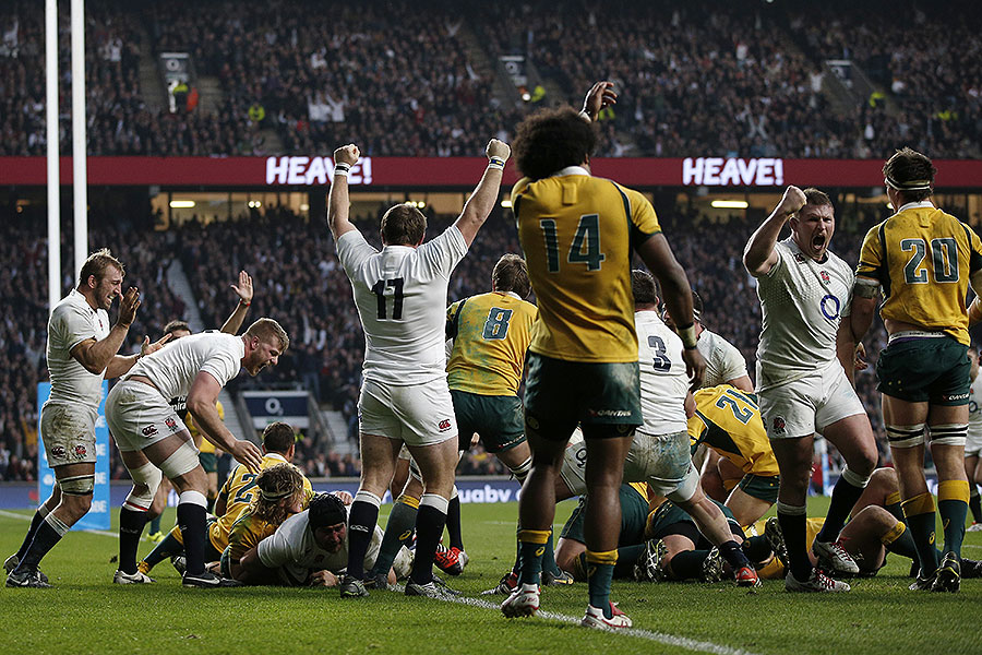 England's forwards celebrate a powerful scrum try