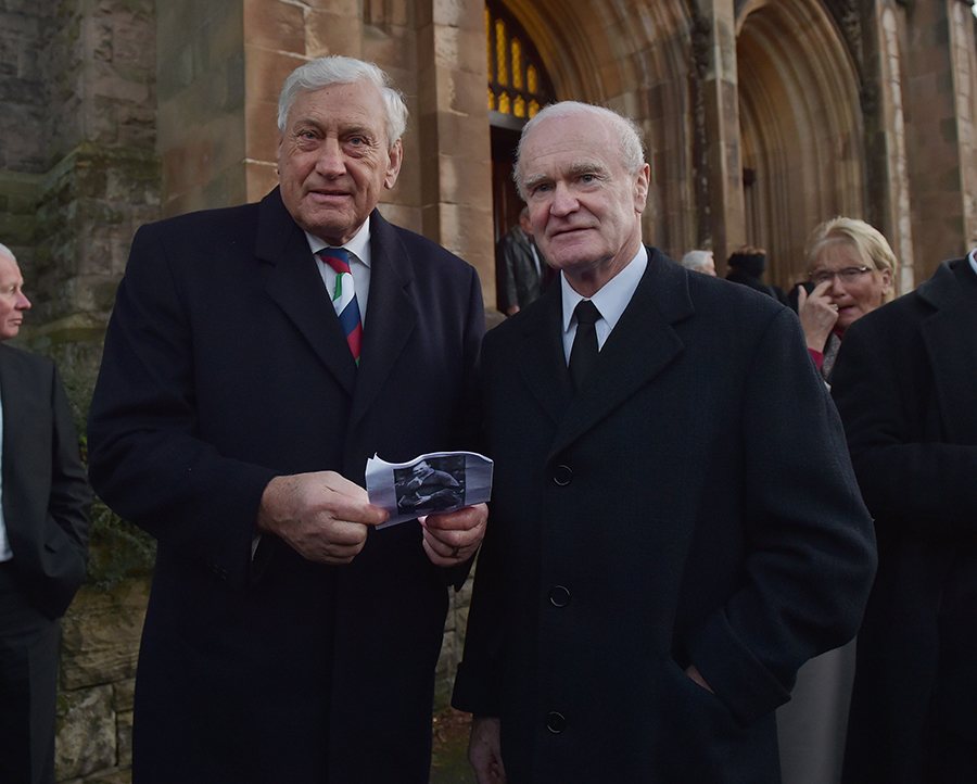 Former British and Irish Lions stars Willie John McBride and Mike Gibson attend the thanksgiving service for Ireland rugby legend Jack Kyle