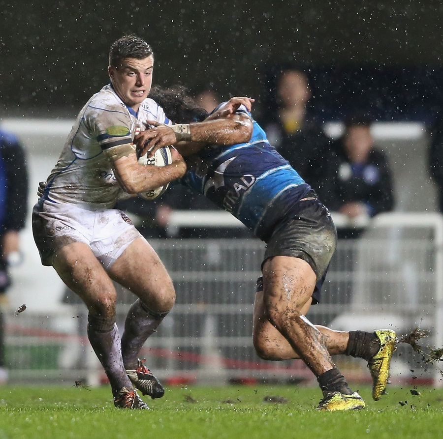 George Ford of Bath is tackled by Rene Ranger