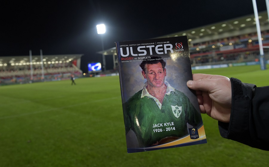 The matchday program at Ravenhill pays tribute to Ireland and Ulster legend Jackie Kyle