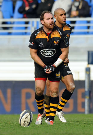 Andy Goode prepares to kick for goal, Castres v Wasps, European Rugby Champions Cup, Stade Pierre-Antoine, France, December 7, 2014