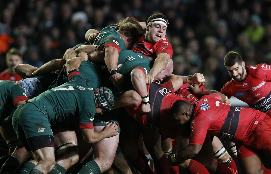 Guilhem Guirado's head pops up as Leicester and Toulon scrummage