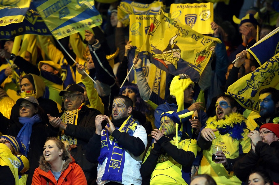 Clermont's colourful and raucous fans enjoy their win at Thomond Park